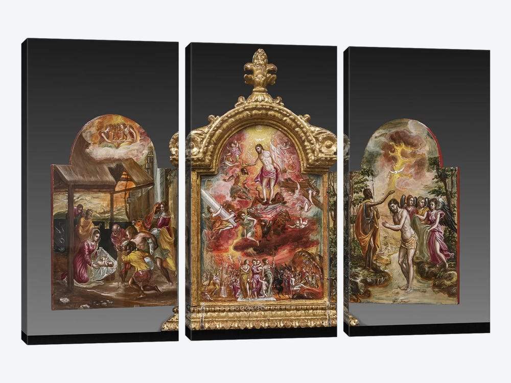 Front Side Of El Greco's Portable Altar by El Greco 3-piece Art Print