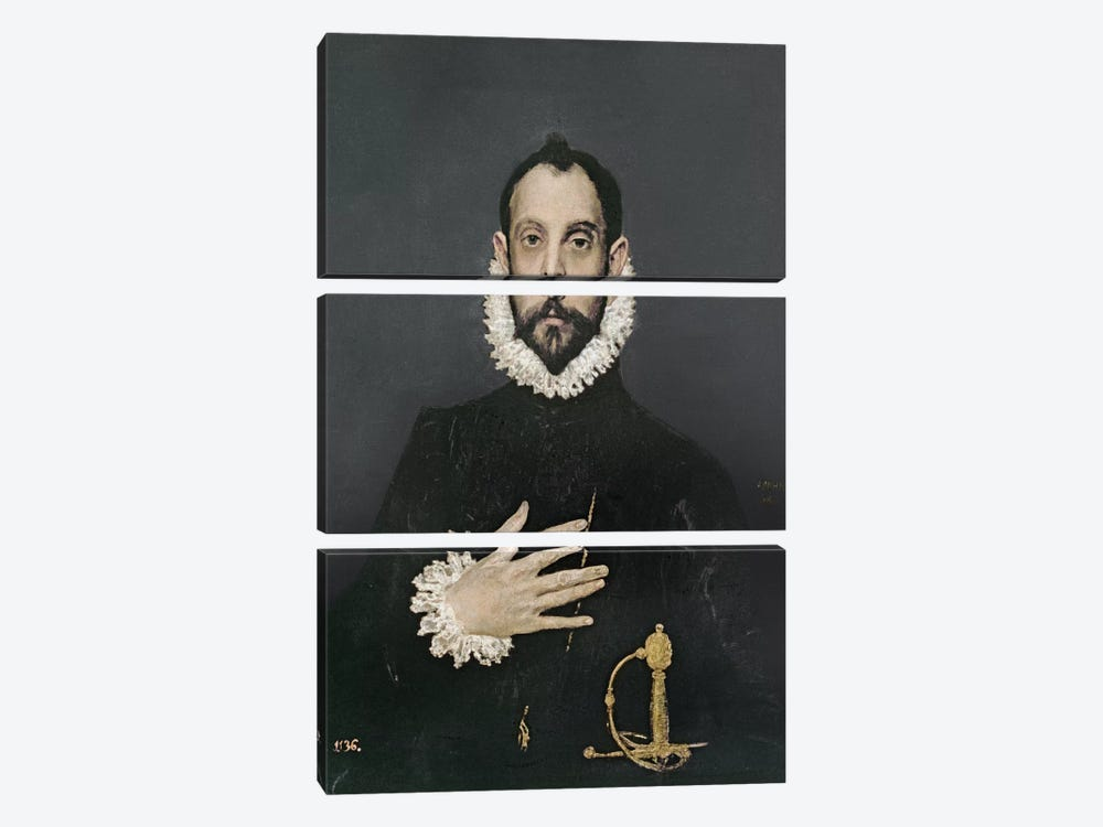 Gentleman With His Hand On His Chest, c.1580 by El Greco 3-piece Canvas Artwork