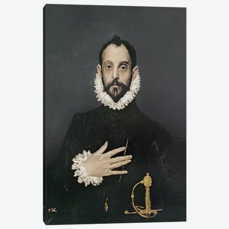 Gentleman With His Hand On His Chest, c.1580 Canvas Print #BMN6139} by El Greco Canvas Print