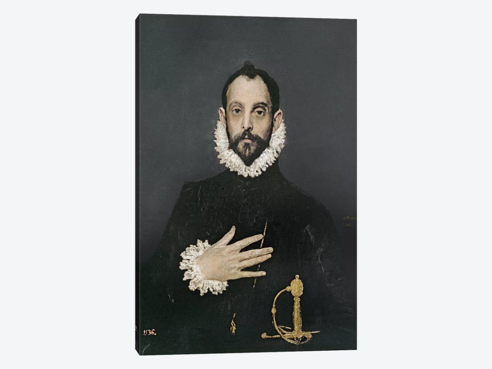 Gentleman With His Hand On His Chest, c.1580 by El Greco 1-piece Canvas Art