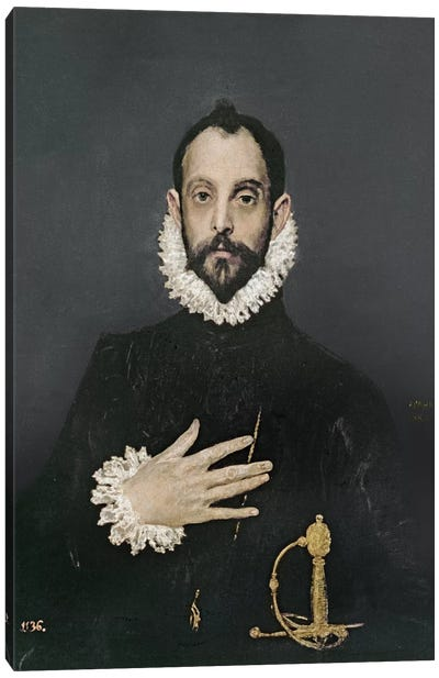 Gentleman With His Hand On His Chest, c.1580 Canvas Art Print