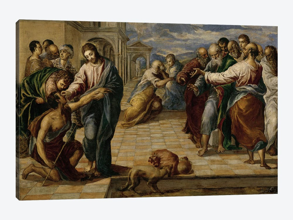 Healing Of The Blind Man, c.1570 by El Greco 1-piece Canvas Print