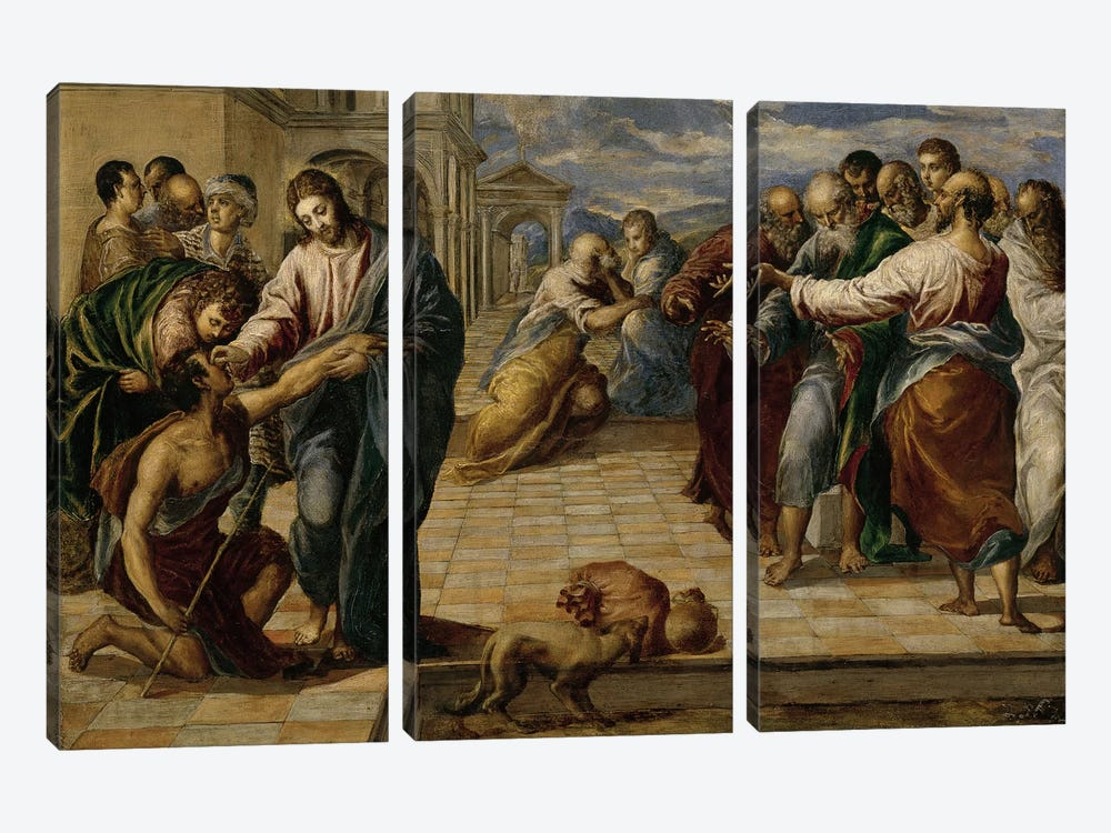Healing Of The Blind Man, c.1570 by El Greco 3-piece Art Print
