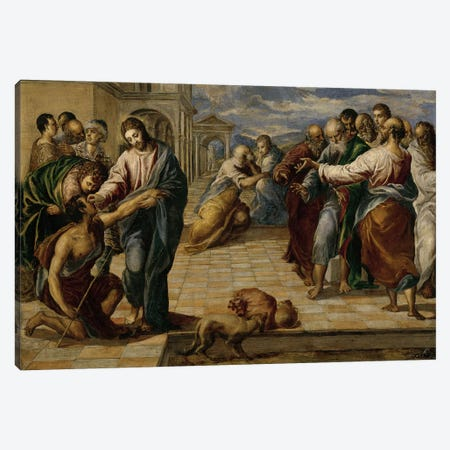 Healing Of The Blind Man, c.1570 Canvas Print #BMN6141} by El Greco Canvas Wall Art