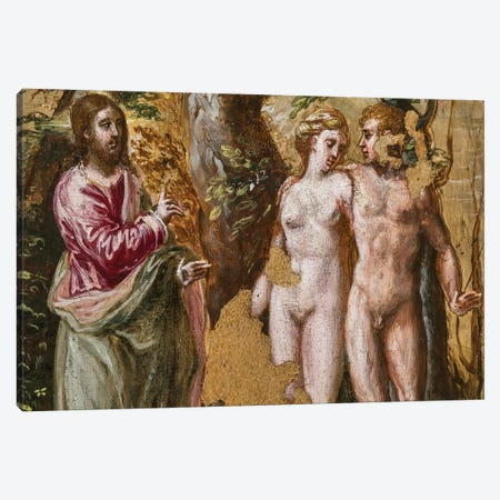 In Zoom, Adam And Eve Facing The Eternal Father, (Back Side Of Left Panel From El Greco's Portable Altar) Canvas Print #BMN6142} by El Greco Canvas Art