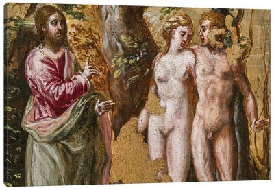 In Zoom, Adam And Eve Facing The Eternal Father, (Back Side Of Left Panel From El Greco's Portable Altar) Canvas Print #BMN6142