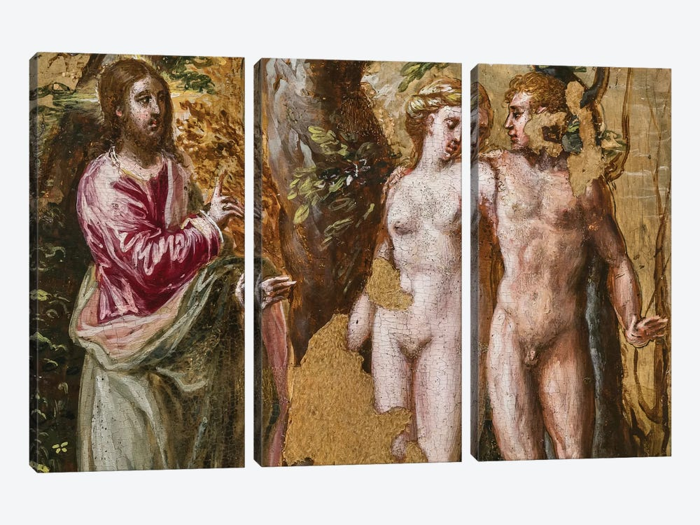 In Zoom, Adam And Eve Facing The Eternal Father, (Back Side Of Left Panel From El Greco's Portable Altar) by El Greco 3-piece Canvas Artwork