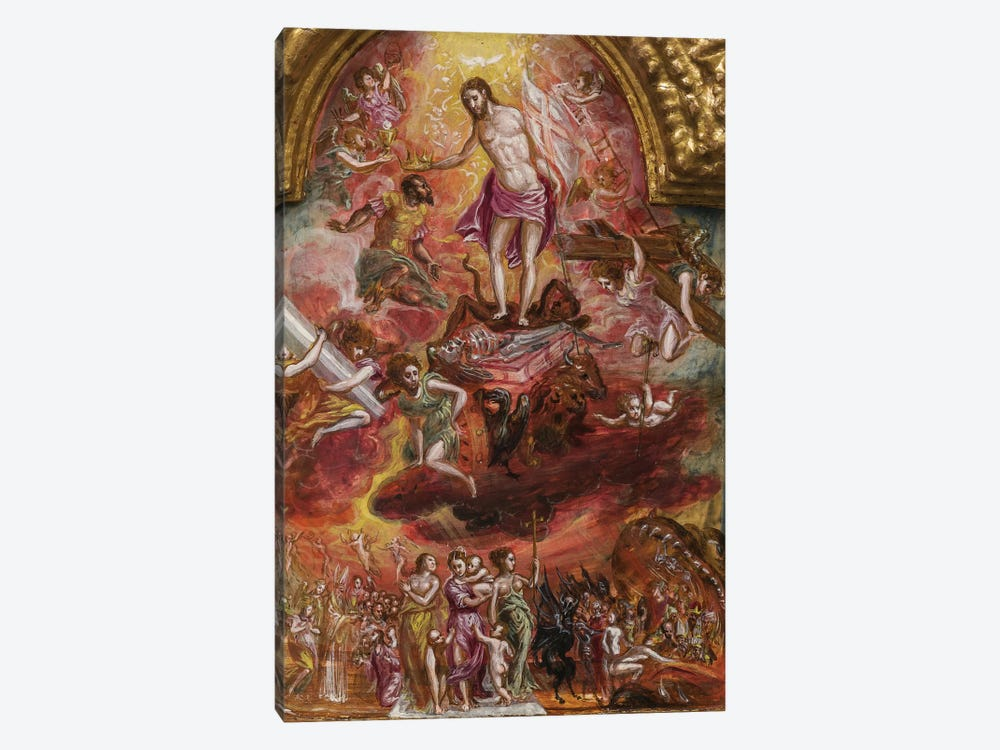 In Zoom, Allegory Of The Christian Knight (Front Side Of Central Panel From El Greco's Portable Altar) by El Greco 1-piece Canvas Print