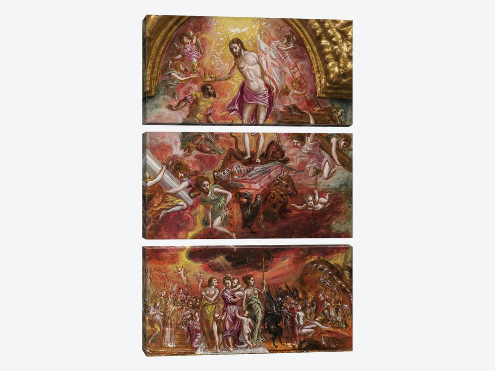 In Zoom, Allegory Of The Christian Knight (Front Side Of Central Panel From El Greco's Portable Altar) by El Greco 3-piece Art Print