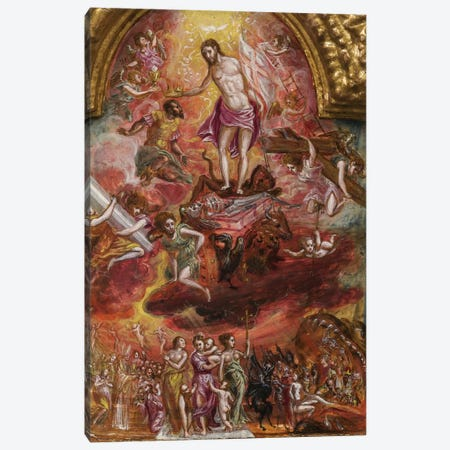 In Zoom, Allegory Of The Christian Knight (Front Side Of Central Panel From El Greco's Portable Altar) Canvas Print #BMN6143} by El Greco Canvas Wall Art