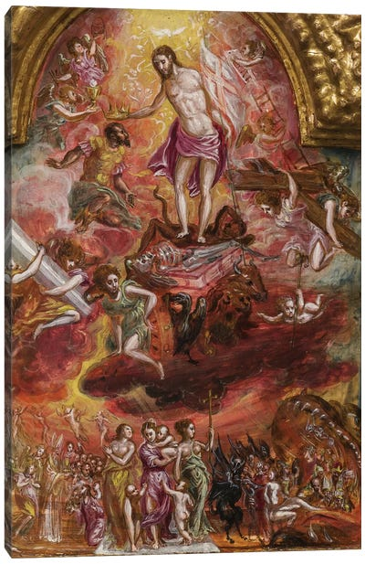 In Zoom, Allegory Of The Christian Knight (Front Side Of Central Panel From El Greco's Portable Altar) Canvas Art Print