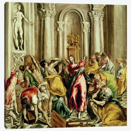 Jesus Driving The Merchants From The Temple, 1610-14 Canvas Print #BMN6144} by El Greco Canvas Art Print