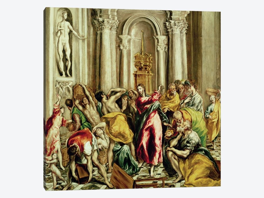Jesus Driving The Merchants From The Temple, 1610-14 by El Greco 1-piece Canvas Art