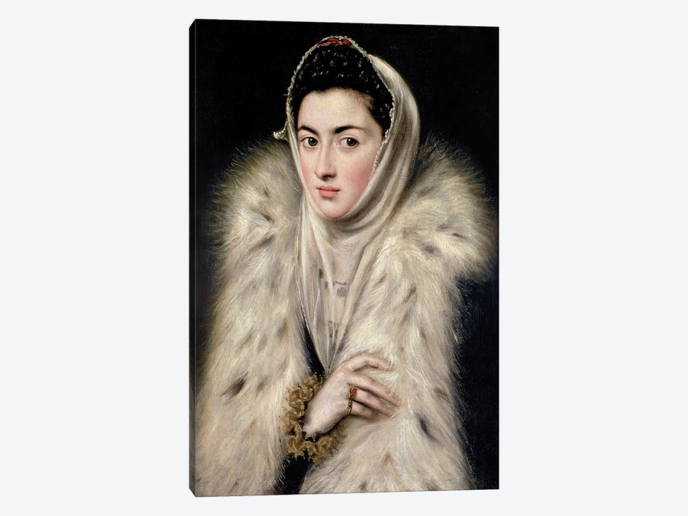 Lady In A Fur Wrap (Stirling Maxwell Collectioun At The Pollok House) by El Greco 1-piece Canvas Artwork