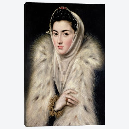 Lady In A Fur Wrap (Stirling Maxwell Collectioun At The Pollok House) Canvas Print #BMN6146} by El Greco Canvas Print