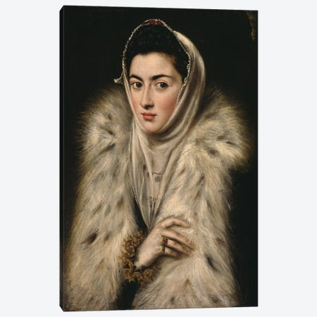Lady In A Fur Wrap, c.1577 (Art Gallery And Museum, Kelvingrove) Canvas Print #BMN6147} by El Greco Canvas Art Print