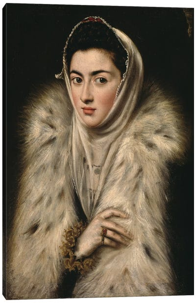 Lady In A Fur Wrap, c.1577 (Art Gallery And Museum, Kelvingrove) Canvas Print #BMN6147
