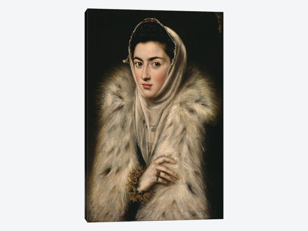 Lady In A Fur Wrap, c.1577 (Art Gallery And Museum, Kelvingrove) by El Greco 1-piece Canvas Print