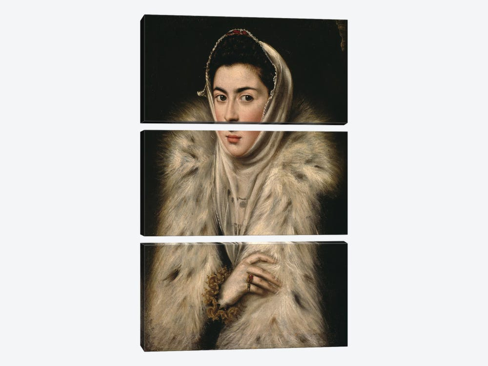 Lady In A Fur Wrap, c.1577 (Art Gallery And Museum, Kelvingrove) by El Greco 3-piece Canvas Art Print