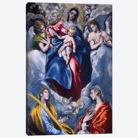 Madonna And Child With Saint Martina And Saint Agnes, 1597-99 Canvas Print #BMN6149} by El Greco Canvas Artwork