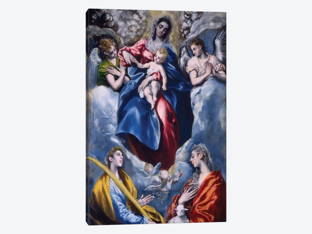 Madonna And Child With Saint Martina And Saint Agnes, 1597-99 by El Greco 1-piece Canvas Art Print