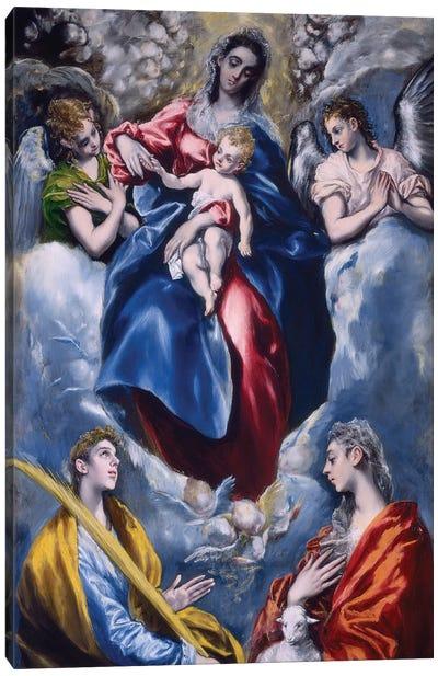 Madonna And Child With Saint Martina And Saint Agnes, 1597-99 Canvas Art Print