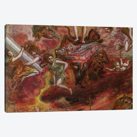 Middle, Allegory Of The Christian Knight (Front Side Of Central Panel From El Greco's Portable Altar) Canvas Print #BMN6152} by El Greco Canvas Art Print