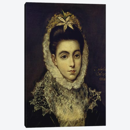 Portrait Of A Young Lady Canvas Print #BMN6155} by El Greco Canvas Wall Art