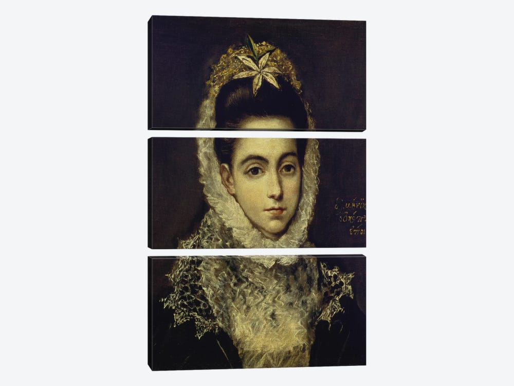 Portrait Of A Young Lady by El Greco 3-piece Canvas Art