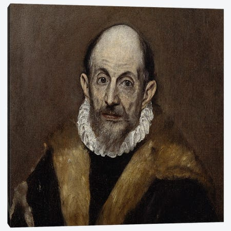 Portrait Of An Old Man, c.1590-1600 Canvas Print #BMN6156} by El Greco Canvas Artwork