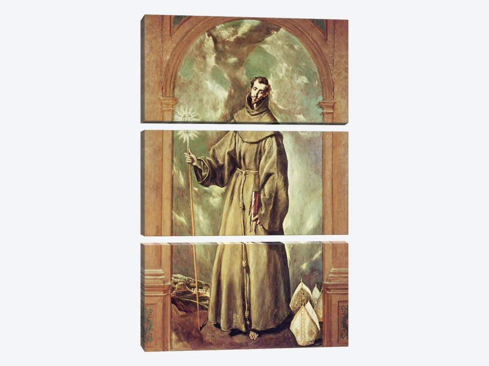 Saint Bernard Of Clairvaux, 1603 by El Greco 3-piece Canvas Print