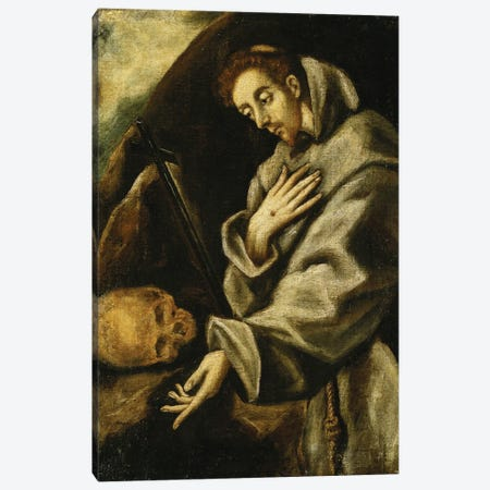 Saint Francis In Meditation (Private Collection) Canvas Print #BMN6168} by El Greco Canvas Art