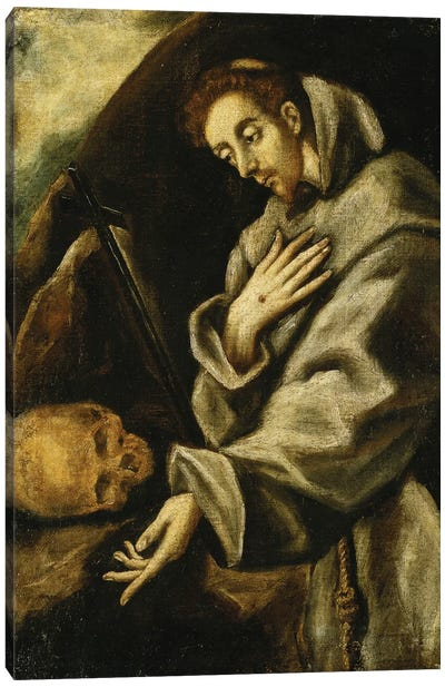 Saint Francis In Meditation (Private Collection) Canvas Art Print