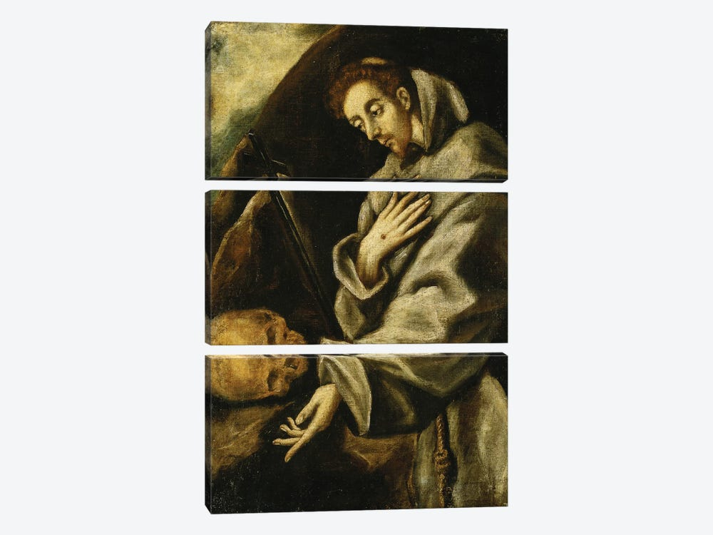 Saint Francis In Meditation (Private Collection) by El Greco 3-piece Canvas Art