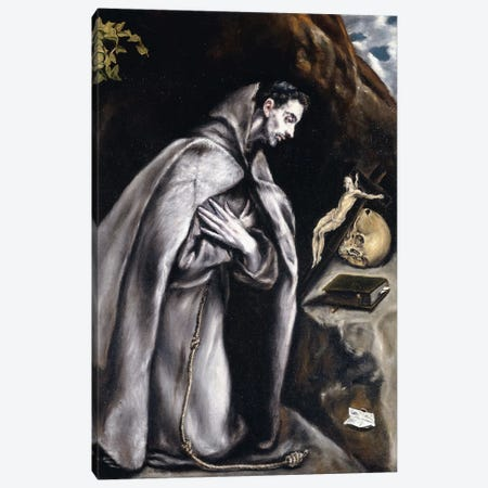 Saint Francis Kneeling In Meditation (Private Collection) Canvas Print #BMN6169} by El Greco Canvas Art
