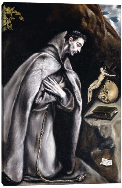 Saint Francis Kneeling In Meditation (Private Collection) Canvas Art Print