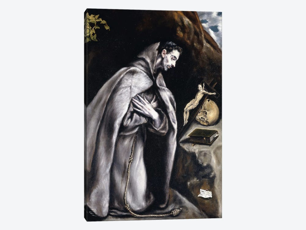 Saint Francis Kneeling In Meditation (Private Collection) by El Greco 1-piece Art Print