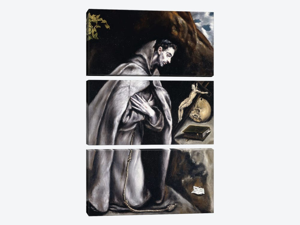 Saint Francis Kneeling In Meditation (Private Collection) by El Greco 3-piece Canvas Print
