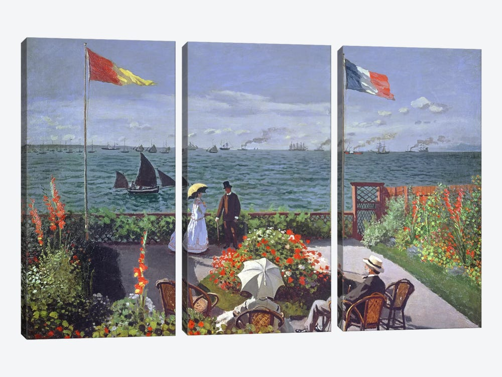 The Terrace at Sainte-Adresse, 1867 by Claude Monet 3-piece Canvas Art