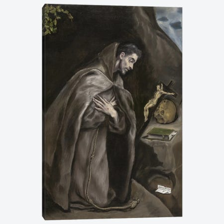 Saint Francis Kneeling In Meditation, 1595-1600 (Art Institute Of Chicago) Canvas Print #BMN6170} by El Greco Canvas Print