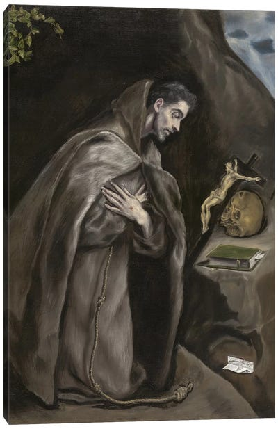Saint Francis Kneeling In Meditation, 1595-1600 (Art Institute Of Chicago) Canvas Art Print