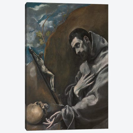 Saint Francis Of Assisi In Meditation (Private Collection) Canvas Print #BMN6171} by El Greco Canvas Art Print