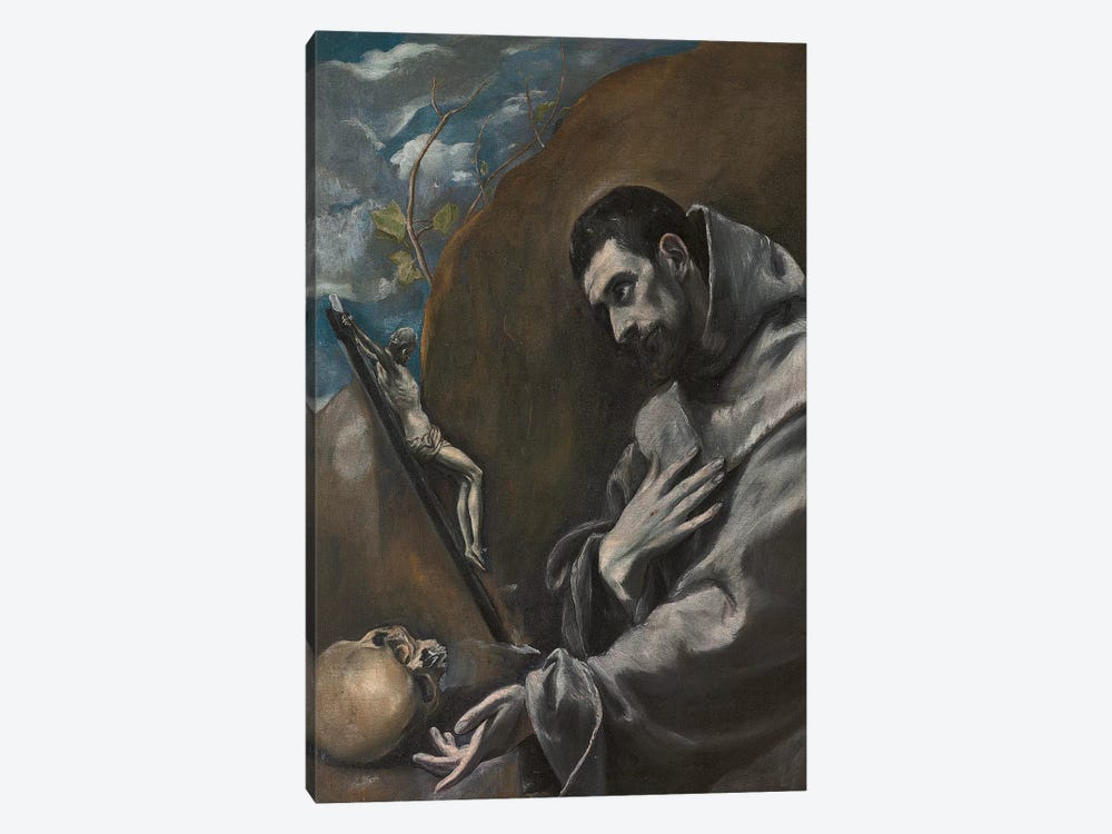 Saint Francis Of Assisi In Meditation (Private Collection) by El Greco 1-piece Canvas Art