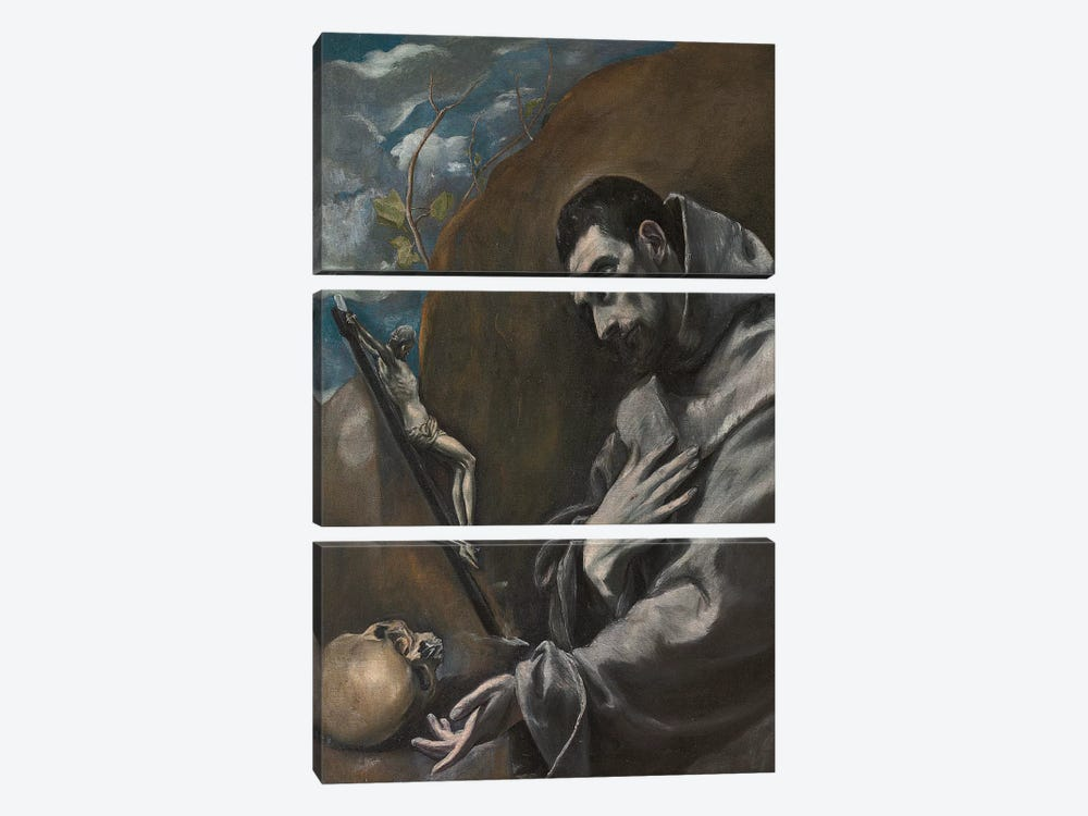 Saint Francis Of Assisi In Meditation (Private Collection) by El Greco 3-piece Canvas Wall Art