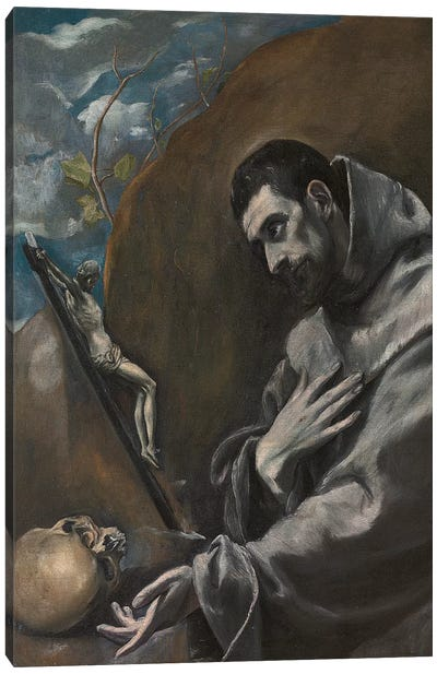 Saint Francis Of Assisi In Meditation (Private Collection) Canvas Art Print