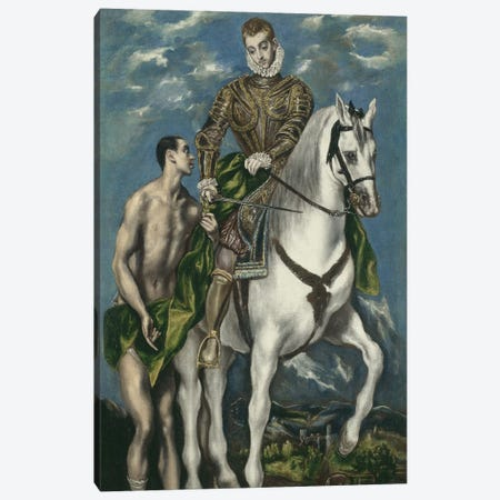 Saint Martin And The Beggar, 1597-1600 (Art Institute Of Chicago) Canvas Print #BMN6175} by El Greco Canvas Wall Art