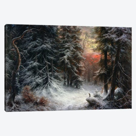 Snow Scene in the Black Forest, 19th century Canvas Print #BMN617} by Carl Friedrich Wilhelm Trautschold Canvas Artwork