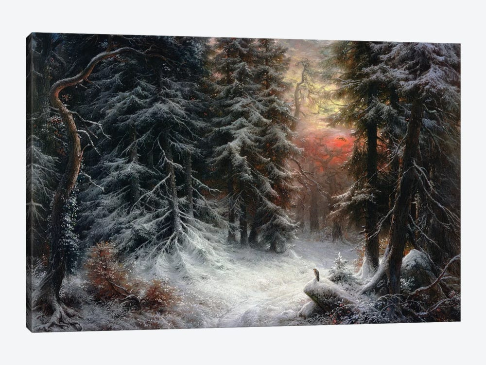 Snow Scene in the Black Forest, 19th century by Carl Friedrich Wilhelm Trautschold 1-piece Canvas Art Print