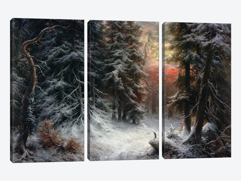 Snow Scene in the Black Forest, 19th century 3-piece Canvas Art Print