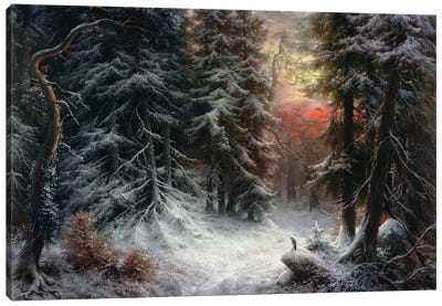 Snow Scene in the Black Forest, 19th century Canvas Art Print